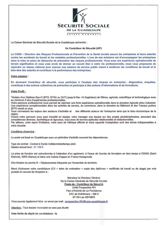 photos officielles 7e254 62c7d Offre d'emploi : Contrôleur de Sécurité (H/F) - Direction ...
